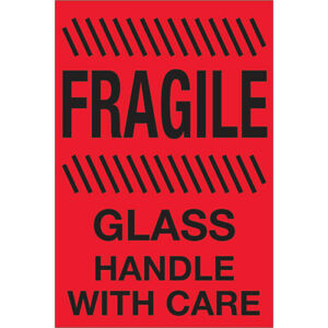 Tape Logic Labels fragile Glass Handle With Care 4 X 6 Fluorescent Red 5