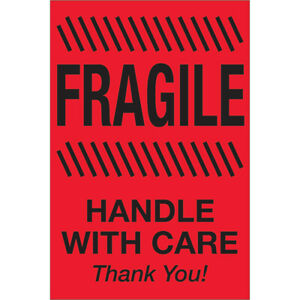 Tape Logic Labels fragile Handle With Care 4 X 6 Fluorescent Red 500 roll
