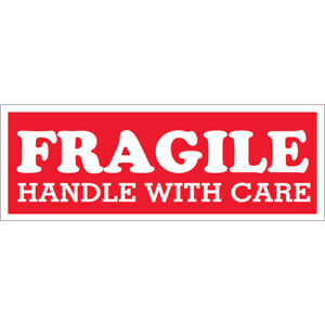 Tape Logic Labels fragile Handle With Care 1 1 2 X 4 Red white 500 roll
