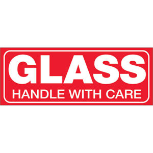 Tape Logic Labels glass Handle With Care 1 1 2 X 4 Red white 500 roll