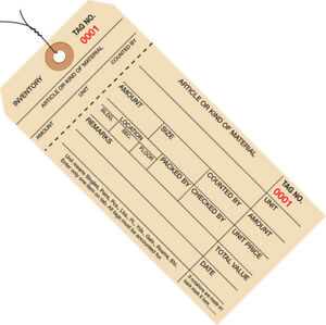 Box Partners Inventory Tags 1 Part Stub Style 8 Pre wired 0001 0999 6 1 4 X