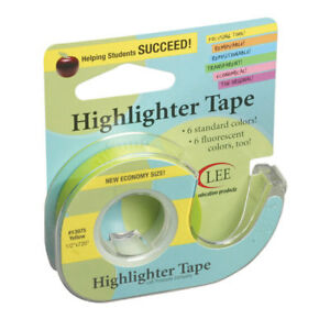 Lee Products Removable Highlighter Tape yellow 6 Rl 13975