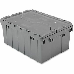 Akro mils Attached Lid Container 8 1 2 Gal Gray 39085grey