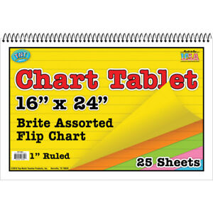 Top Notch Teacher Chart Tablets 16x24 Assortedruled 3 Ea 3841