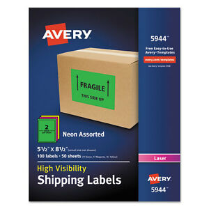 Avery Neon Shipping Label Laser 5 1 2 X 8 1 2 Neon Assorted 100 box 5944