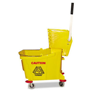 Magnolia Brush Mop Bucket wringer Combo Plastic Yellow 60353