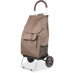 Dbest Products Shopping Trolley Dolley Beverage Holder 15 x13 x38 Brown 01061