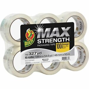 Duck Max Packaging Tape 1 88 X 54 6 Yds 3 Core Crystal Clear 6 pack 241513