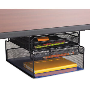 Safco Onyx Hanging Organizer W drawer Under Desk Mount 12 1 3 X 10 X 7 1 4 Black