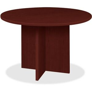 Lorell Conference Table Round Top 42 dia X 1 thick X 29 h Mahogany Pt42rmy