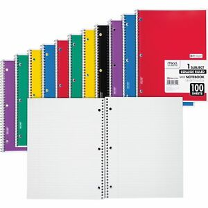 Mead Notebooks Spiral 1 subject 100 Sht 8 x10 1 2 12 bd Ast 06622bd