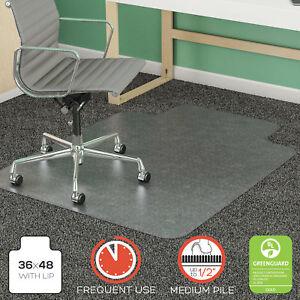 Deflecto Supermat Frequent Use Chair Mat Lip 36 X 48 Medium Pile Clear