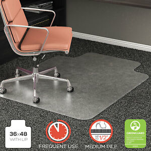 Deflecto Rollamat Frequent Use Chair Mat For High Pile Carpet Lip 36 X 48
