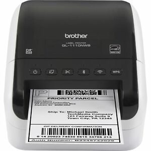 Brother Label Printer Wireless Wide format Thermal 300 Dpi We bk Ql1110nwb