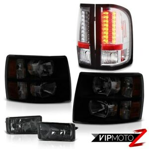 07 13 Silverado 3500hd Smoke Tinted Headlamps Fog Lights Clear Chrome Tail Lamps