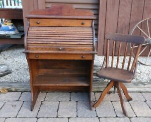 Antique Child S Roll Top Desk And Chair Local Pickup