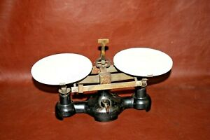 Antique English Style Cast Iron Working Balance Scale W 6 Milk Glass Trays