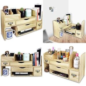 Design Adjustable Wooden Desktop Organizer Office Supplies Storage Shelf Rack