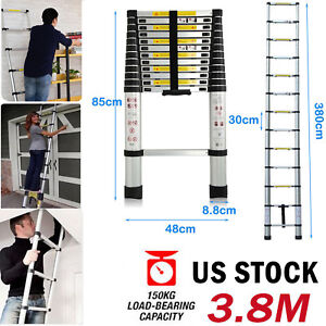12 5ft Aluminum Multi purpose Telescopic Ladder Extension Heavy Duty Portable