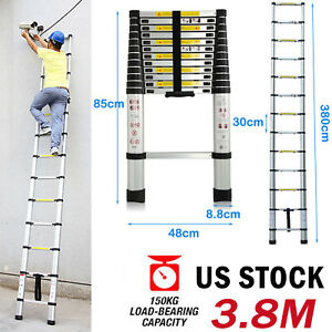 3 8m 12 5ft Diy Multi purpose Aluminum Telescopic Ladder Extension En131 150kg