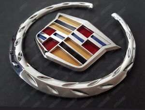 6 Front Grill Grille 3d Logo Emblem Chrome Cadillac Wreath Crest Badge Sticker