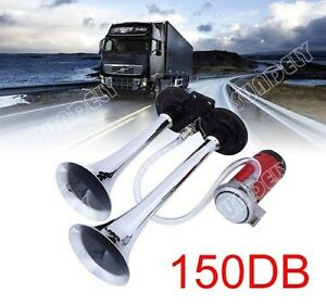 Car Boat Truck Chrome Dual Tone Trumpet Air Horn Compressor Super Loud 150db 12v