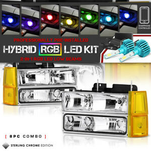 multi color Led Low Beam 8pc Combo 94 98 Gmc Yukon Sierra Signal Headlights
