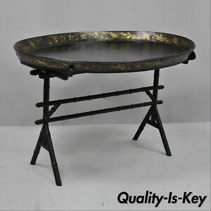 19th C English Victorian Leather Tole Tray Coffee Table On Faux Bamboo Base