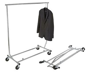 Clothing Rack Rolling Folding Single Bar Rail Salesman Sample Garment Display