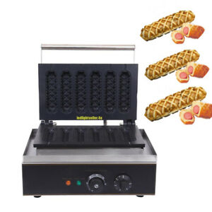 Commercial Nonstick Electric French Hot Dog Lolly Stick Waffle Maker 6 Pcs Iron