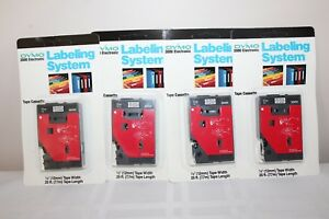 Lot Of 4 Tape For Dymo 3000 Electronic Labeling System 1 2 Black clear 30130new