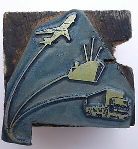 Israel Vintage Letterpress Printers Block Shiping Metal On Wood Stamp Type