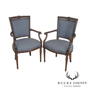 Regency Style Vintage Pair Of Carved Mahogany Blue Upholstered Arm Chairs