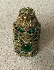 Vintage Czech Era Green Jeweled Enamel Gold Filigree Miniature Perfume Bottle