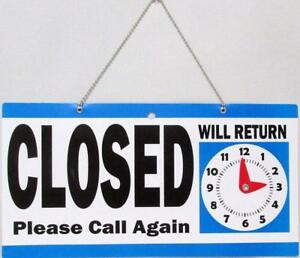 Open Closed Store Sign With Will Return Clock Blue