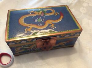 Large Chinese Dragon Cloisonne Blue Enamel Trunk Shape Humidor Box Signed 5 Claw