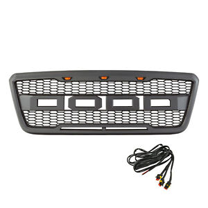 04 08 Ford F150 Raptor Grille Led Upper Replacement Gray Front Hood Grill