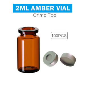 100pcs 10ml Amber Vial 20mm Crimp Top flat Bottom Lab Glass Bottle 22 5 46mm