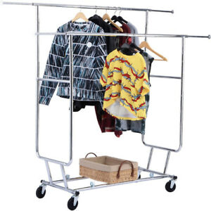 Double Commercial Collapsible Clothing Rolling Garment Rack Iron Heavy Duty Home