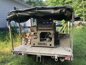 Mep 002a 5kw Military Diesel Generator With Covered Trailer Fully Tested 33 Hr