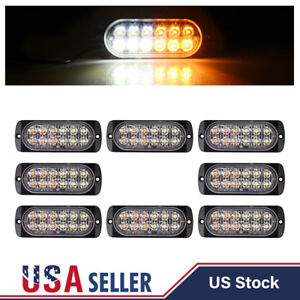 8pcs White Amber 12led Strobe Light Bar Car Truck Flash Warning Hazard Emergency