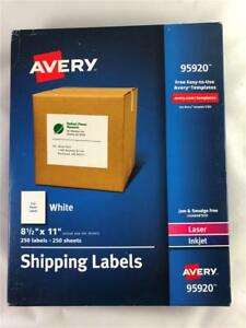 250 Avery 95920 Full Sheet Shipping Labels 8 1 2 X 11 Laser