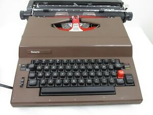 Vintage Sears Scholar Brown Portable Electric Typewriter With Hard Case