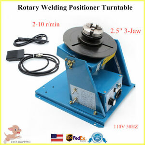 2 5 Rotary Welding Positioner Turntable With 3 Jaw Lathe Chuck 2 10rpm 110v Usa