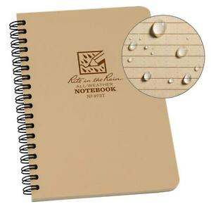 Rite In The Rain All weather Side spiral Notebook 4 5 8 X 7 Tan Cover