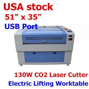 Usa 51 X 35 130w Co2 Laser Cutter With Usb Port And Electric Lifting Worktable