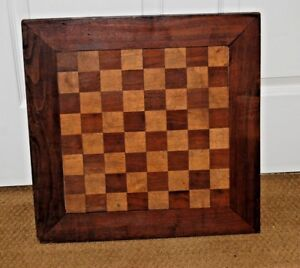 Antique Primitive Wood Folk Art Game Board Checkerboard Double Sided