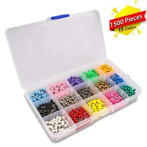 Map Tacks Marking Push Pins 1 8 inch Plastic Beads Head 15 Assorted Colors