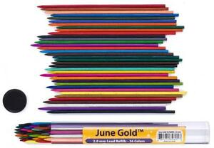 June Gold 36 Assorted Colored Lead Refills 2 0 Mm Extra Bold 90 Tall