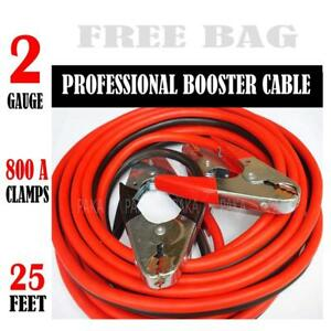 Comercial Heavy Duty 800 Amp Clamps 25 Ft 2 Gauge Booster Cable Jumper Cables